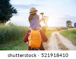 man backpacker enjoy child on... | Shutterstock . vector #521918410