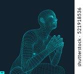 man in a thinker pose. 3d model ...   Shutterstock .eps vector #521918536