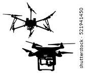 black silhouette  quadrocopter... | Shutterstock .eps vector #521941450