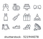 wedding line outlined icon... | Shutterstock .eps vector #521944078
