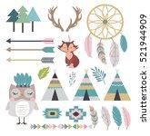 set of tribal indian elements... | Shutterstock .eps vector #521944909