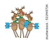 funny reindeer singing... | Shutterstock .eps vector #521945734