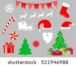 christmas symbols in a flat... | Shutterstock .eps vector #521946988