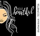 beauty  beautiful  hair  vector ...   Shutterstock .eps vector #521948716