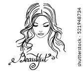 beauty  beautiful  hair  vector ... | Shutterstock .eps vector #521948734