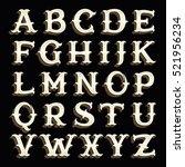 retro alphabet in western style ... | Shutterstock .eps vector #521956234