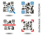 qr code button. qr code symbol. ... | Shutterstock . vector #521964244