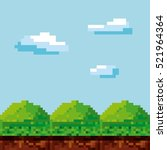 pixel landscape. video game... | Shutterstock .eps vector #521964364