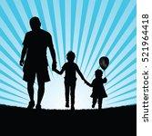 family happy walking in nature... | Shutterstock .eps vector #521964418