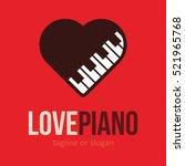 piano music love heart logo...   Shutterstock .eps vector #521965768
