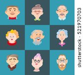 face of elder people icons set... | Shutterstock .eps vector #521970703