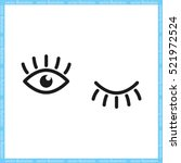 eyes and eyelashes icon vector... | Shutterstock .eps vector #521972524