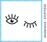 Eyes And Eyelashes Icon Vector...