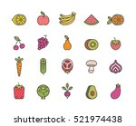 fruits and vegetables. set of... | Shutterstock .eps vector #521974438