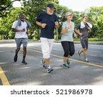 senior group friends exercise... | Shutterstock . vector #521986978