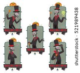 vector set of emblems with... | Shutterstock .eps vector #521989438