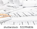 construction plans with drawing ... | Shutterstock . vector #521996836