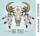 colorful buffalo skull...   Shutterstock .eps vector #522003898