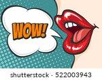Female Lips In Pop Art Style...