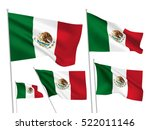 mexico vector flags set. 5 wavy ... | Shutterstock .eps vector #522011146