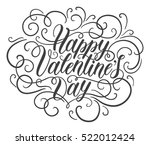 happy valentine's day hand... | Shutterstock .eps vector #522012424