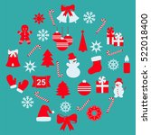 set of christmas and new year... | Shutterstock .eps vector #522018400