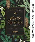christmas greeting card in... | Shutterstock .eps vector #522019360