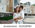 beautiful and happy bride and... | Shutterstock . vector #522028984