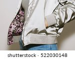 girl dressed blue jeans ... | Shutterstock . vector #522030148