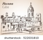 havana  ityscape sketch. cuba.... | Shutterstock .eps vector #522031810