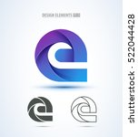 abstract letter e logo icon set ... | Shutterstock .eps vector #522044428
