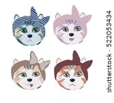Collection Cats. Vector...