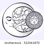 vintage hand drawn moon  sun... | Shutterstock .eps vector #522061870