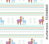 seamless pattern with llamas... | Shutterstock .eps vector #522068860