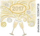 beautiful champagne glasses.... | Shutterstock .eps vector #522069718