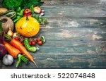 harvest fresh vegetables autumn ... | Shutterstock . vector #522074848
