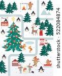 christmas scene vector... | Shutterstock .eps vector #522084874