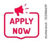 apply now. badge with megaphone ...   Shutterstock .eps vector #522086659