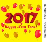 happy new year 2017 red and... | Shutterstock .eps vector #522088978