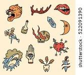 set of old school tattoos. hand ... | Shutterstock .eps vector #522091390