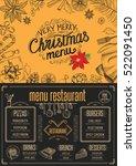 christmas restaurant brochure ... | Shutterstock .eps vector #522091450