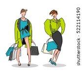 girl illustration with shopping ...   Shutterstock .eps vector #522114190