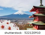 Red Pagoda With Mt Fuji...