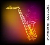neon saxophone  | Shutterstock .eps vector #522126268