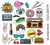 retro patch badges set.... | Shutterstock .eps vector #522130579