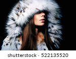 luxury girl with long brown... | Shutterstock . vector #522135520