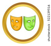 happy and sad mask vector icon... | Shutterstock .eps vector #522139516