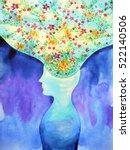 human head  chakra power ... | Shutterstock . vector #522140506