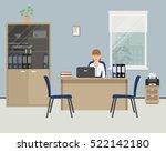 web banner of an office worker. ... | Shutterstock .eps vector #522142180