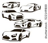 a set of 5 vector black and... | Shutterstock .eps vector #522149800